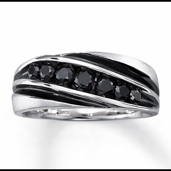 Mens 34 Ct Black Diamond Ring 10k White Gold